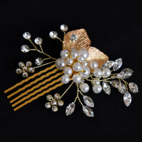 Lucia Hair Comb - Delicate Floral Golden Headpiece-Hair Jewellery Decorative Comb Bridal Wedding Party Hairstyle Accessory-HC14-The Style Diva - India