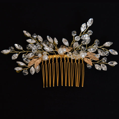 Lydia Hair Comb - Delicate Floral Golden Headpiece-Hair Jewellery Decorative Comb Bridal Wedding Party Hairstyle Accessory-HC04-The Style Diva - India