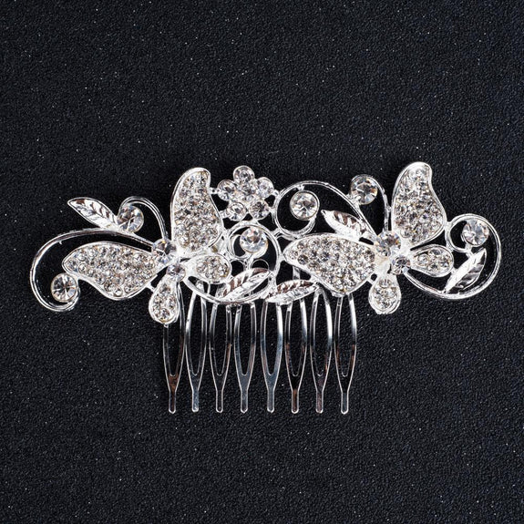 Madeline Hair Comb - Delicate Silver Headpiece-Hair Jewellery Decorative Comb Bridal Wedding Party Hairstyle Accessory-HC2118-The Style Diva - India