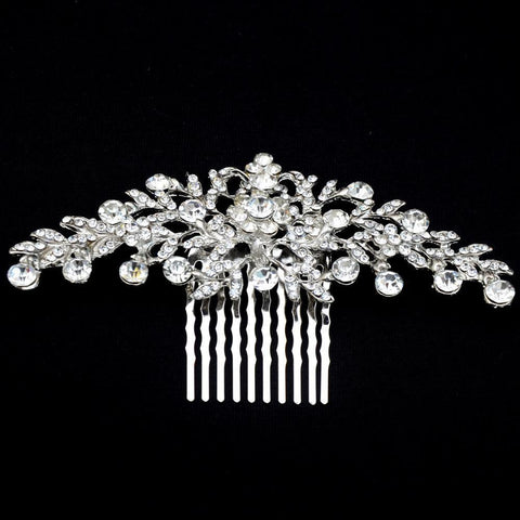 Margaret Hair Comb - Delicate Crystal Floral Silver Headpiece-Hair Jewellery Decorative Comb Bridal Wedding Party Hairstyle Accessory-HC2088-The Style Diva - India