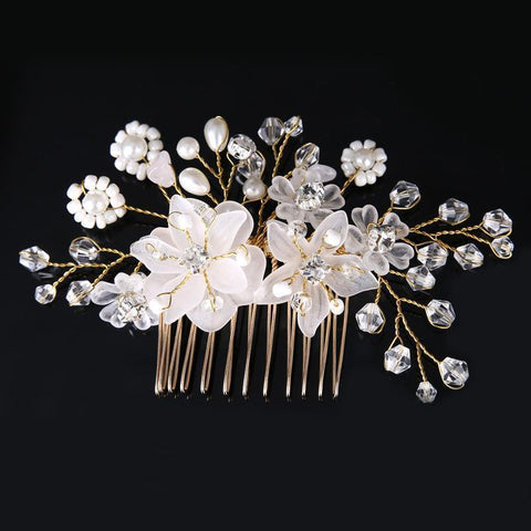 Marilyn Hair Comb - Delicate Crystal Floral Headpiece-Hair Jewellery Decorative Comb Bridal Wedding Party Hairstyle Accessory-HC2018-The Style Diva - India
