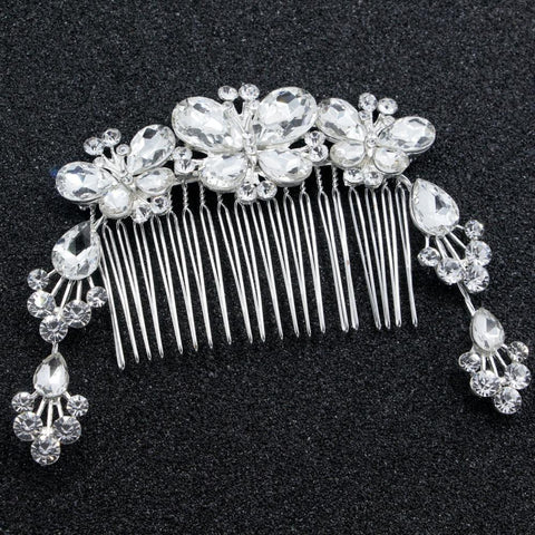 Marjorie Hair Comb - Delicate Crystal Floral Silver Headpiece-Hair Jewellery Decorative Comb Bridal Wedding Party Hairstyle Accessory-HC2130-The Style Diva - India