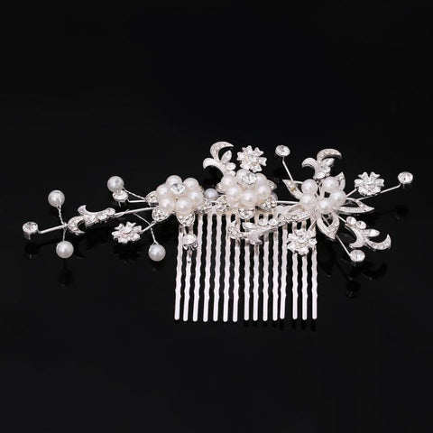 Mia Hair Comb - Delicate Crystal Floral Silver Headpiece-Hair Jewellery Decorative Comb Bridal Wedding Party Hairstyle Accessory-HC2129-The Style Diva - India
