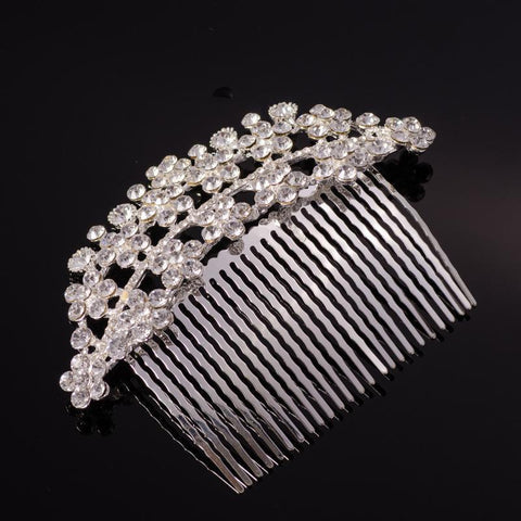 Natalia Hair Comb - Delicate Crystal Floral Silver Headpiece-Hair Jewellery Decorative Comb Bridal Wedding Party Hairstyle Accessory-HC2125-The Style Diva - India