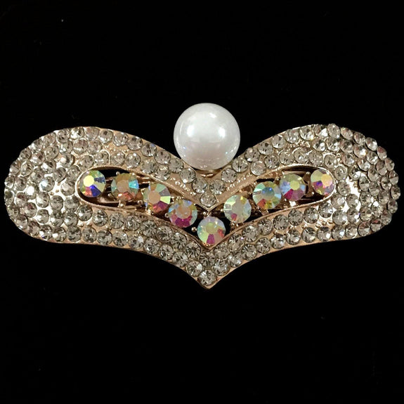Oleander Hair Clip - Beautiful Rhinestone & Artificial Pearl Barrette Clip-Decorative Barrette Clip Hair Jewellery Bridal Wedding Party Hairstyle Accessory-BC24-The Style Diva - India