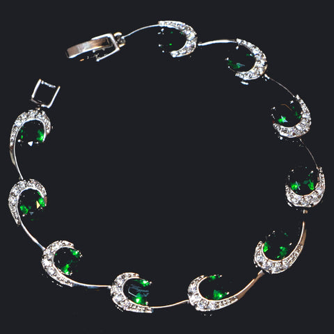 Olga Royal Green Bracelet - Classic Look High Grade Cubic Zircon Bracelet for Women and Girls-Cubic Zirconia Bracelet Fashion Jewellery Ornament-BL02-The Style Diva - India