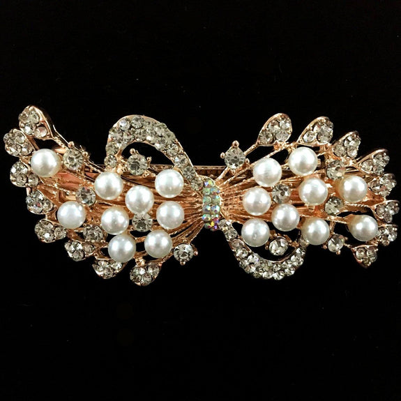 Poinsettia Hair Clip - Beautiful Rhinestone & Artificial Pearl Barrette Clip-Decorative Barrette Clip Hair Jewellery Bridal Wedding Party Hairstyle Accessory-BC29-The Style Diva - India