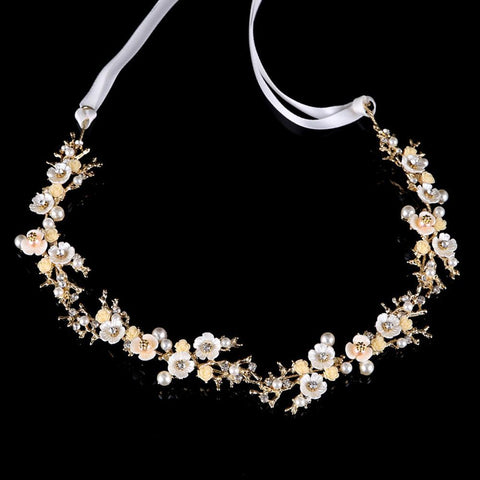 Primrose Headpiece - Delicate Crystal Floral Golden Hair Vines-Hair Jewellery Decorative Comb Bridal Wedding Party Hairstyle Accessory-HC1175-The Style Diva - India