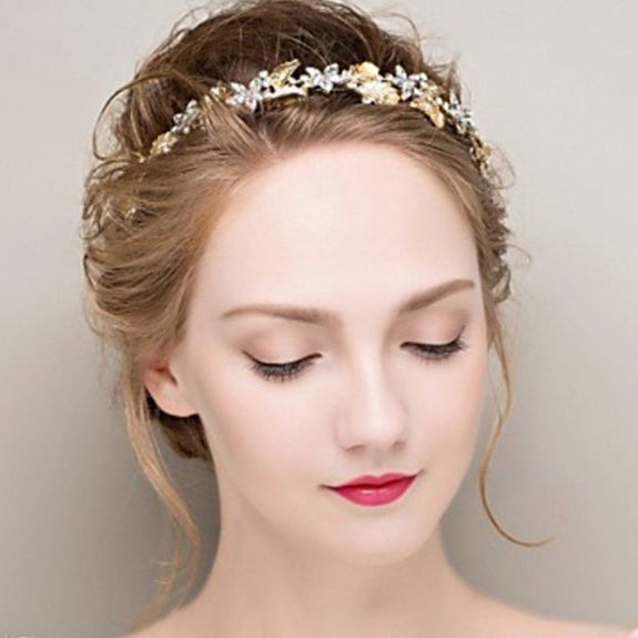 Quinn Headpiece - Golden Leaves and Rhinestone are beautifully crafted in Floral Hair Vines-Hair Jewellery Decorative Comb Bridal Wedding Party Hairstyle Accessory-HC1165-The Style Diva - India