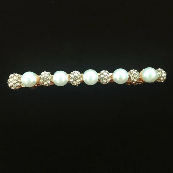 Ren Hair Clip - Beautiful Rhinestone & Artificial Pearl Barrette Clip-Decorative Barrette Clip Hair Jewellery Bridal Wedding Party Hairstyle Accessory-BC06-The Style Diva - India