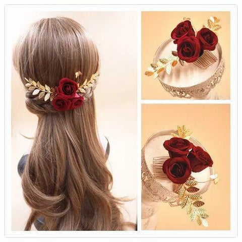 Rosabel Hair Comb - Beautiful Headpiece made with Rose and Golden leaves-Decorative Headpiece Hair Jewellery Bridal Wedding Party Hairstyle Accessory-HC18-The Style Diva - India