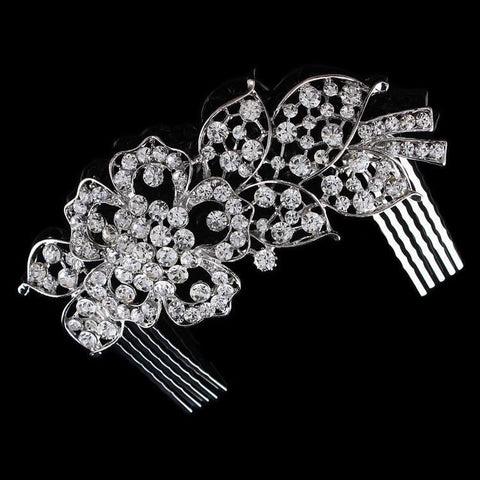 Rosaline Hair Comb - Delicate Crystal Floral Silver Headpiece-Hair Jewellery Decorative Comb Bridal Wedding Party Hairstyle Accessory-HC2079-The Style Diva - India