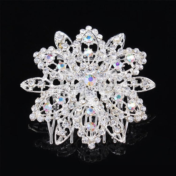 Rosette Hair Comb - Delicate Crystal Silver Headpiece-Hair Jewellery Decorative Comb Bridal Wedding Party Hairstyle Accessory-HC2021-The Style Diva - India