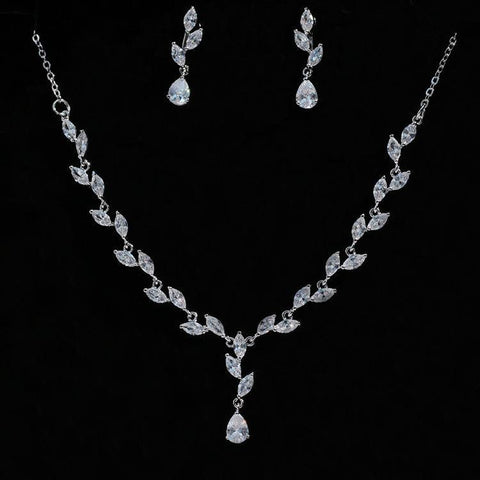 Silver Finish Cubic Zirconia Wedding Necklace & Earrings Set - Best-Selling Bridal Jewelry Set-Imitation Fashion Jewellery Ornament Necklace Set-N891152-The Style Diva - India