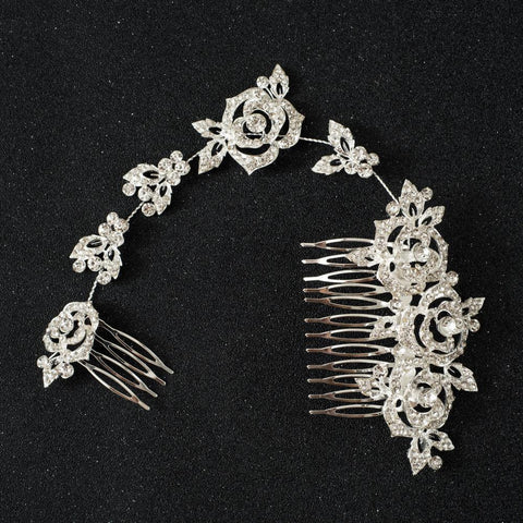 Sophia Hair Comb - Delicate Floral Hair Vine Silver Headpiece-Hair Jewellery Decorative Comb Bridal Wedding Party Hairstyle Accessory-HC2115-The Style Diva - India