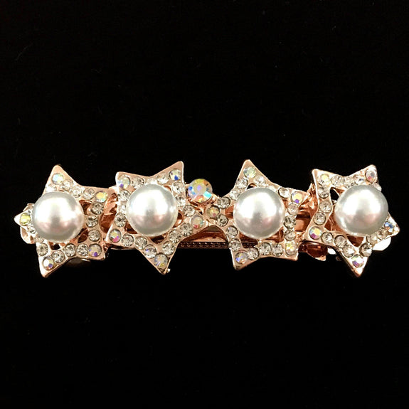 Star Jasmine Hair Clip - Beautiful Rhinestone & Artificial Pearl Barrette Clip-Decorative Barrette Clip Hair Jewellery Bridal Wedding Party Hairstyle Accessory-BC04-The Style Diva - India