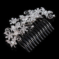 Valentina Hair Comb - Delicate Floral Crystal Silver Headpiece-Hair Jewellery Decorative Comb Bridal Wedding Party Hairstyle Accessory-HC2077-The Style Diva - India