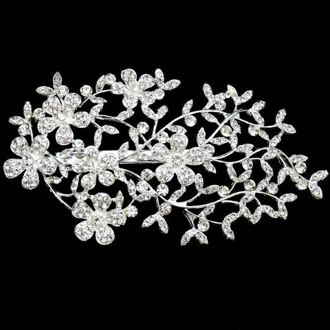 Vera Headpiece - Delicate Crystal Floral Silver Hair Vine Style-Decorative Headpiece Hair Jewellery Bridal Wedding Party Hairstyle Accessory-HC2094-The Style Diva - India
