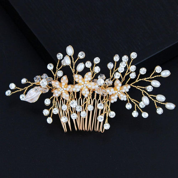 Victoria Hair comb - Delicate Floral Golden/White golden Hair Jewellery-Hair Jewellery Decorative Comb Bridal Wedding Party Hairstyle Accessory-HC2216-The Style Diva - India
