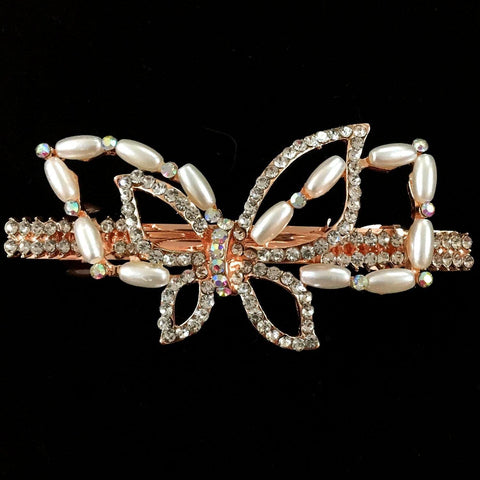 Viola Hair Clip - Beautiful Rhinestone & Artificial Pearl Barrette Clip-Decorative Barrette Clip Hair Jewellery Bridal Wedding Party Hairstyle Accessory-BC21-The Style Diva - India