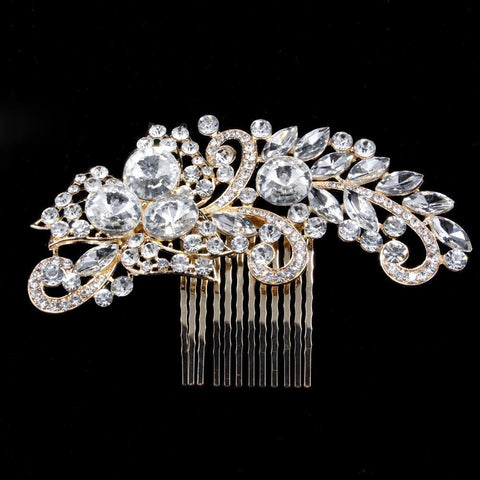 Violetta Hair Comb - Delicate Crystal Floral Golden Headpiece-Hair Jewellery Decorative Comb Bridal Wedding Party Hairstyle Accessory-HC2112-The Style Diva - India