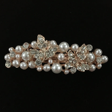 Zinnia Hair Clip - Beautiful Rhinestone & Artificial Pearl Barrette Clip-Decorative Barrette Clip Hair Jewellery Bridal Wedding Party Hairstyle Accessory-BC03-The Style Diva - India
