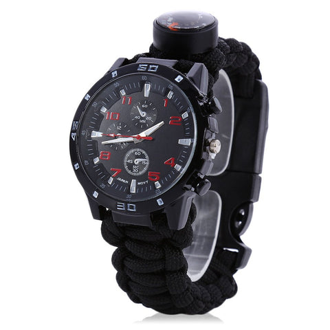Ultimate 6 in 1  Survival Watch with Compass Flint Fire Starter Paracord Thermometer and Whistle