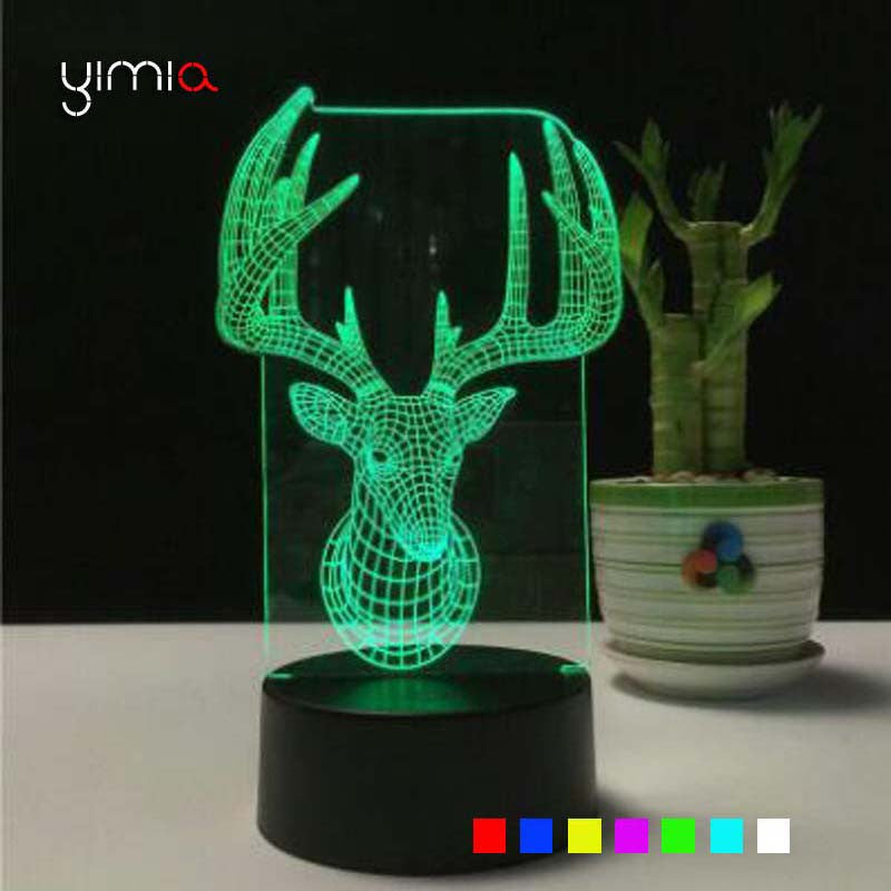 YIMIA 7 color changing Animal Deer 3D Lampe USB Charge Touch Key LED Night Light Table Desk Lamp lava Light
