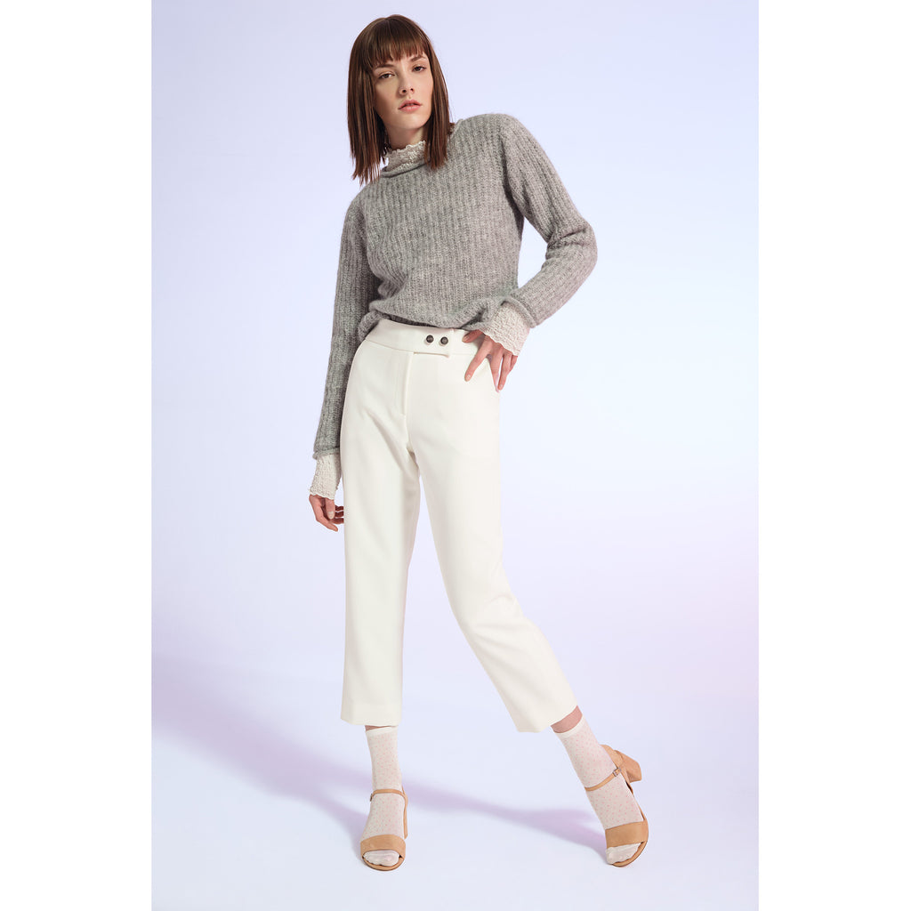 Gray Roll Hem Sweater