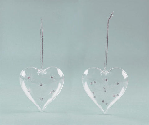 Heart Shaped Glass Christmas Bauble