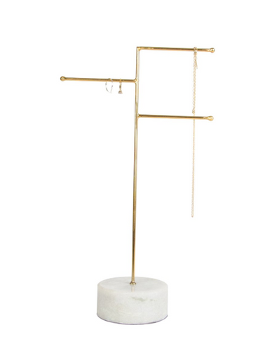 Marble and Brass Jewellery Stand