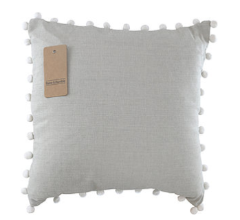 Taupe Chambray Cushion in Charcoal