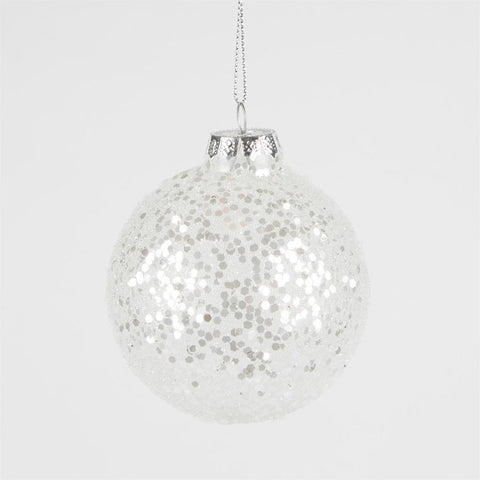 Glass Silver Sequin Christmas Bauble
