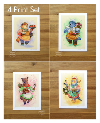 Bakery Animal Friends - 4 PIECE PRINT SET