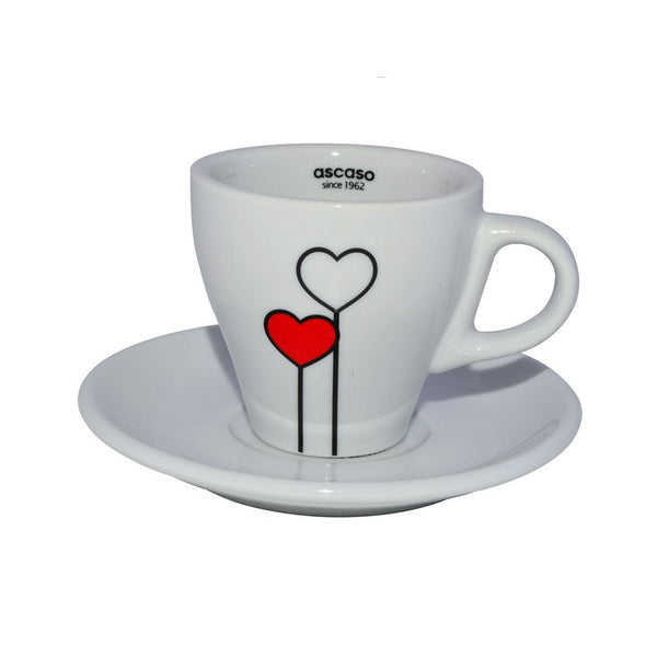 "Ascaso ""Love is in the Air"" Cappuccino (5oz) Cups/ Saucers [Set of 6] - The Concentrated Cup"