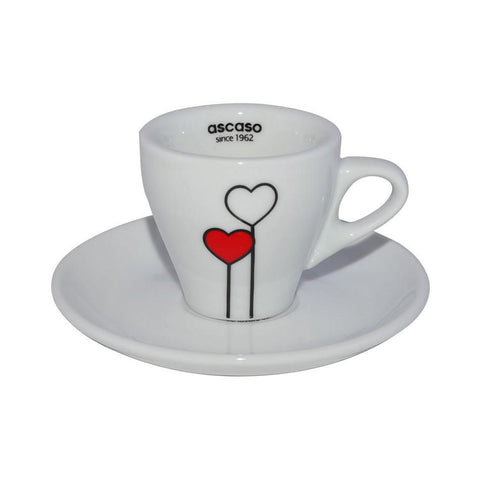 "Ascaso ""Love is in the Air"" Espresso (2oz) Cups/ Saucers [Set of 6] - The Concentrated Cup"