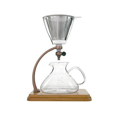 Silverton Coffee/ Tea Dripper w Brown Wood & Brass Station & Stainless Cone Filter - The Concentrated Cup