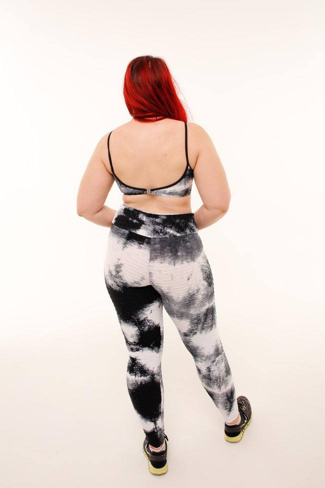 Set It Off Leggings - Black Tie Dye - Haus of Juicy Activewear - for Gym Lounge Home Workout Dance Fitness