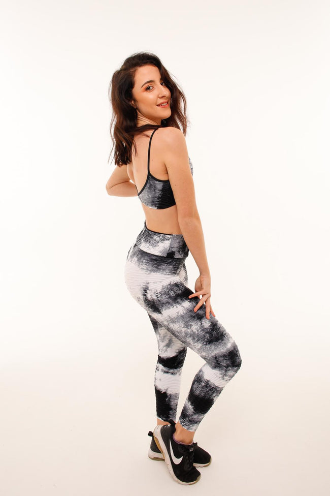 Set It Off Bra Top - Black Tie Dye - Haus of Juicy Activewear - for Gym Lounge Home Workout Dance Fitness