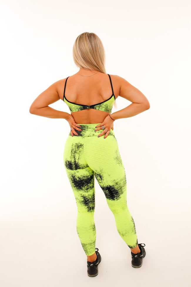 Set It Off Leggings - Yellow Tie Dye - Haus of Juicy Activewear - for Gym Lounge Home Workout Dance Fitness