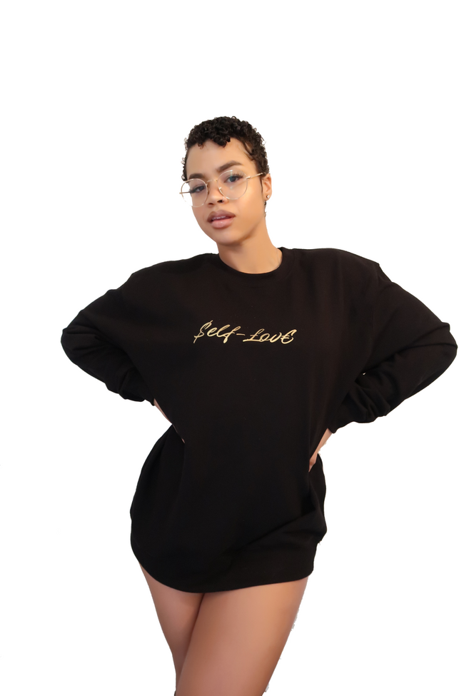 $elf-£ov€ XL Jumper - Black/Gold - Haus of Juicy Activewear - for Gym Lounge Home Workout Dance Fitness