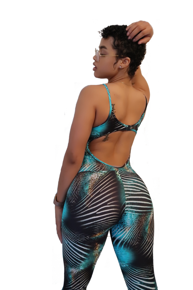 Diamonds Jumpsuit - Blue Zebra Leopard - Haus of Juicy Activewear - for Gym Lounge Home Workout Dance Fitness