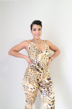 Kriss Kross Jumpsuit - Leopard - Haus of Juicy Activewear - for Gym Lounge Home Workout Dance Fitness