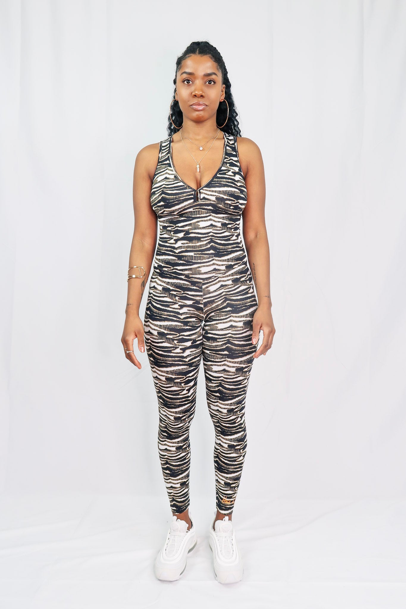 Crossroads Jumpsuit - Snow Tiger - Haus of Juicy Activewear - for Gym Lounge Home Workout Dance Fitness