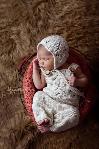 newborn knit lace overalls and bonnet