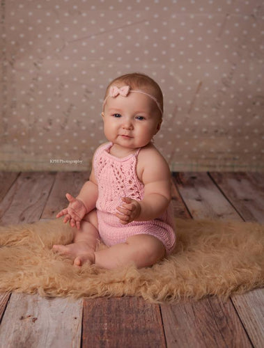 Sitter (6-9m) Tulip Lace Romper - Hand Knit