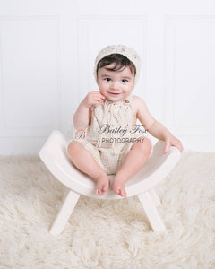 Knit lace overalls and bonnet, baby