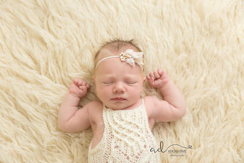 Newborn Sprouting Seeds Lace Romper - Hand Knit