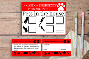 Emergency Printable Pet Cards