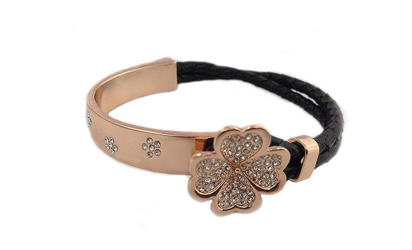 Swarovski Elements Rose Gold & Black Leather Flower Bracelet